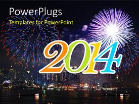 PowerPlugs: PowerPoint template with new year depiction with multiple fireworks in night sky over modern city