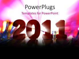 PowerPlugs: PowerPoint template with new year depiction with new year text over colorful background