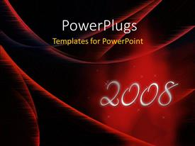 PowerPoint template displaying new year depiction with new year text on abstract red surface
