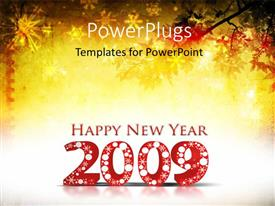 PowerPlugs: PowerPoint template with new year depiction with snowflakes falling on trees and new year text