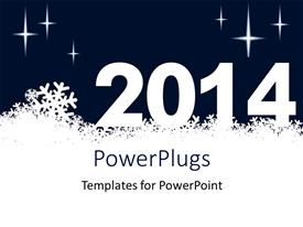 PowerPlugs: PowerPoint template with new year depiction with snowflakes and new year text