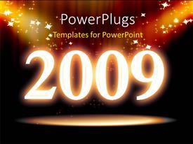 PowerPlugs: PowerPoint template with new year depiction with sparkling stars on black background