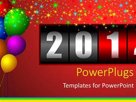 PowerPlugs: PowerPoint template with lots of colorful balloons with a year counter on a red background