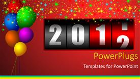 PowerPoint template displaying lots of colorful balloons with a year counter on a red background