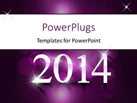PowerPoint template displaying new year depiction with year 2014 on reflective purple surface