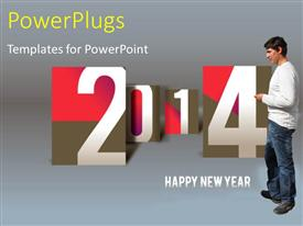 PowerPlugs: PowerPoint template with new year depiction with young man and new year text on grey background