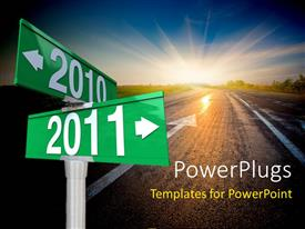 PowerPlugs: PowerPoint template with a new year representation saying good bye to the old year