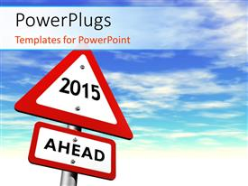 PowerPlugs: PowerPoint template with new year road sign reads 2015 AHEAD over blue cloudy sky