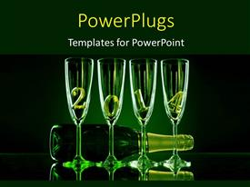 PowerPlugs: PowerPoint template with new year theme , with wine bottle and glasses having green color