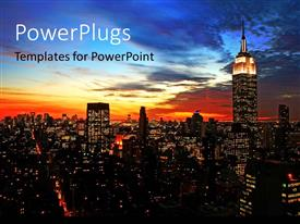 PowerPoint template displaying new York City midtown skyline at dark