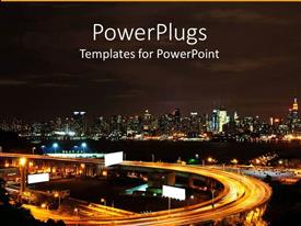 PowerPlugs: PowerPoint template with new York City NYC skyline at night with highway, advertising billboards