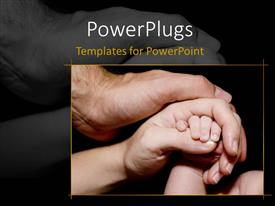 PowerPlugs: PowerPoint template with newborn baby hand is held with love and care by his mother and father, black color