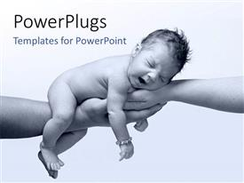 PowerPlugs: PowerPoint template with newborn baby laying in clasped hands of father and mother