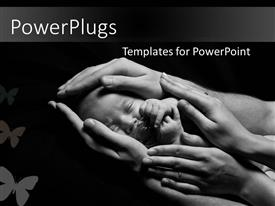 PowerPlugs: PowerPoint template with newborn baby sleeping into parents hands depicting parental love and care