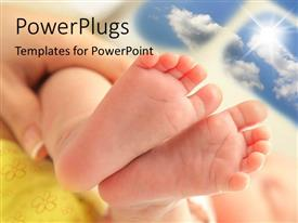 PowerPlugs: PowerPoint template with a newly born child feet held by his mother