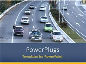 PowerPlugs: PowerPoint template with newlyweds in car driving down highway