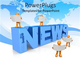 PowerPlugs: PowerPoint template with news concept with gold people holding white reports, blue world map background