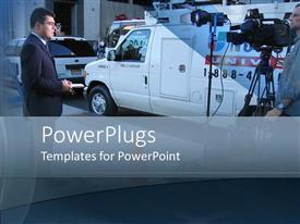 PowerPlugs: PowerPoint template with news crew and news van in middle of street