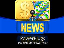 PowerPoint template displaying the news with a dollar sign in the background