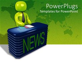 PowerPlugs: PowerPoint template with a newscaster siting behind his desk ready to read the news