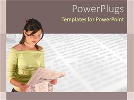 PowerPoint template displaying newspaper in background with young lady reading newspaper
