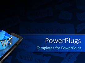 PowerPlugs: PowerPoint template with a phone with a globe and a text that spells out the word ' news'