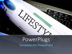 PowerPlugs: PowerPoint template with a newspaper with a text that spells out the word 'Lifestyle '