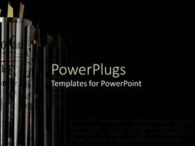 PowerPlugs: PowerPoint template with newspapers and journals stacked vertically on black background