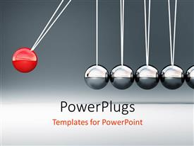 PowerPlugs: PowerPoint template with newton cradle with one red ball at end