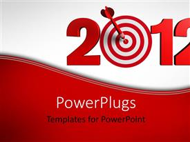 PowerPlugs: PowerPoint template with 2012 figures with a red dart and a target in the centre