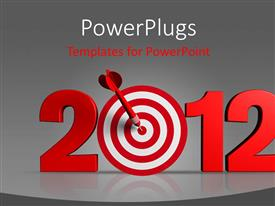 PowerPlugs: PowerPoint template with a red colored text that spells out the word '2012'