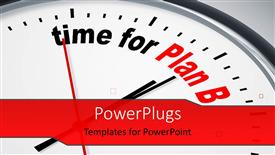 PowerPoint template displaying nice clock with time for Plan B with grey color