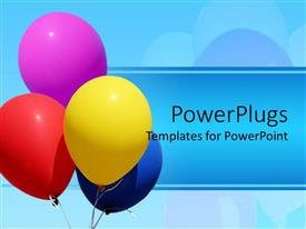 PowerPlugs: PowerPoint template with nice pretty colorful balloons floating in the sky with a blue background