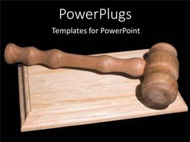PowerPoint template displaying nice wooden gavel on wooden surface with black background