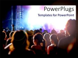 PowerPlugs: PowerPoint template with night crowd in concert with bright light from stage