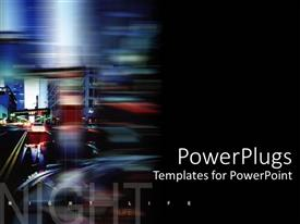 PowerPlugs: PowerPoint template with night life montage with street and car lights on black background