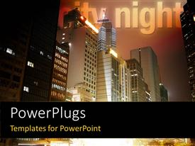 PowerPoint template displaying night sight of urban city with skyscrapers rising to the sky