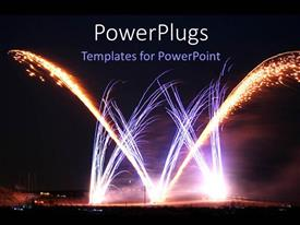 PowerPlugs: PowerPoint template with night time view of lots of sparking celebration fireworks