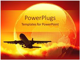 PowerPlugs: PowerPoint template with night view of an airplane taking off in yellow clouds