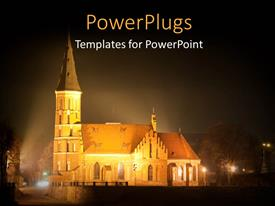 PowerPlugs: PowerPoint template with night view of bright lights lit around a church