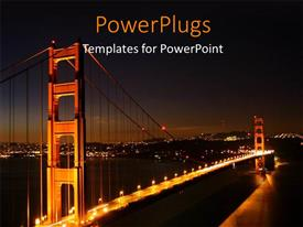 PowerPlugs: PowerPoint template with night view of a city bridge with many bright lights