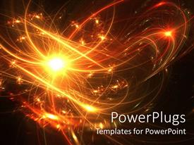 PowerPoint template displaying night view of fireworks displaying yellow and red lights