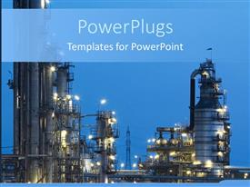PowerPlugs: PowerPoint template with night view of industry with lights on blue background
