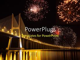 PowerPlugs: PowerPoint template with night view of Lisbon showing Vasco da Gama bridge