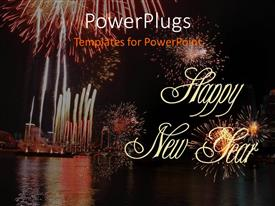 PowerPlugs: PowerPoint template with night view of lots of fire works lit in the sky
