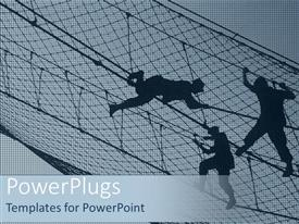 PowerPlugs: PowerPoint template with night view of a net with three uniformed men climbing