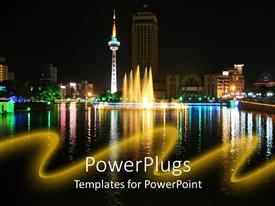 PowerPoint template displaying night view of the reflection of a city line on a lake
