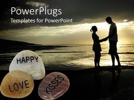 PowerPoint template displaying night view of two lovers holding hands on a beach with three pebbles