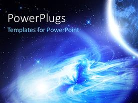 PowerPlugs: PowerPoint template with night vision of the Planet Earth with galaxy and glowing stars in the background