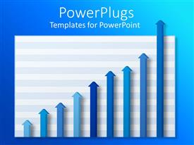 PowerPlugs: PowerPoint template with nine arrows on a graph in different shades of blue